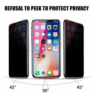 Full Privacy Tempered Glass for iPhone 5/6/7/8/678 plus/X 5.8/6.1/6.5 Screen protector Anti Spy Peeping Film Easy to Install Scratch Proof Fingerprint Free Bubbles
