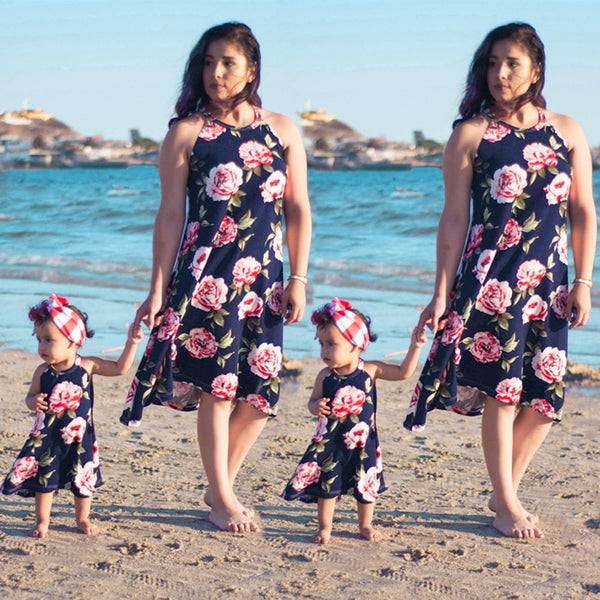 Puseky Fashion Parent Child Matching Clothes Mother Daughter Dress Women Kid Beach Halter Dress Family Match Casual Clothing