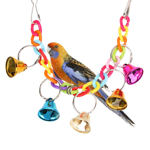 【BUY 1 GET 1 FREE】 32cm Acrylic Pet Parrot Toys Bird Bell Ringer Hanging Swing Cage Toys For Parrot Cockatiel Parakeet Pet Bird Supplies