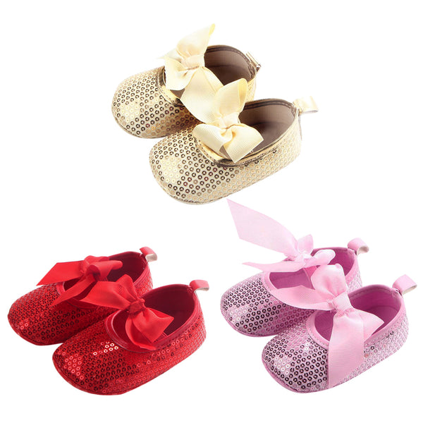 5 Colors Newborn Baby Cute Shoes Girls Big Bowknot Sequin Toddler Shoes Baby First Walker Shoes Newborn Moccasins Prewalk Shoes