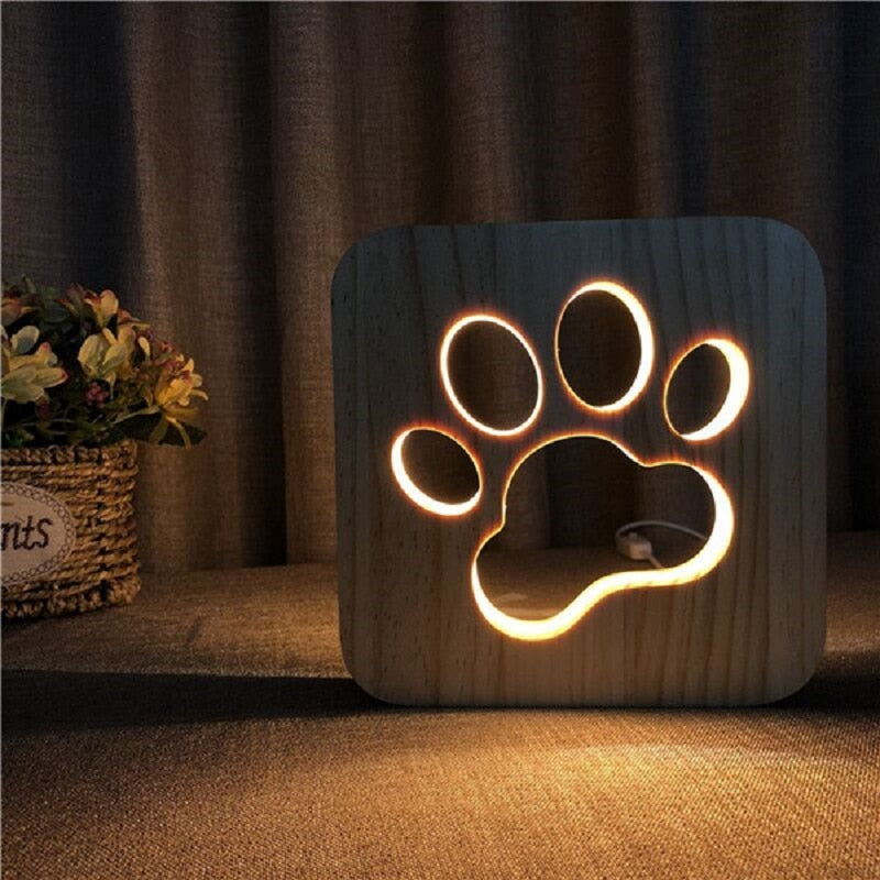 New Wooden Dog Paw 3D Night LED Lamp Kids Bedroom Decoration Warm White Unique Light Birthday Party Gift for Children Friends
