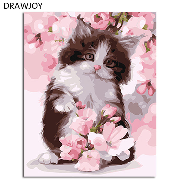 DRAWJOY Framed Picture Painting & Calligraphy Of Loely Animals Cat DIY Painting By Numbers Coloring By Numbers For Home Decor