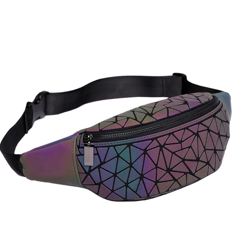 Waist Bag Fanny Pack Luxury Brand Geometric Luminous Holographic Belt Bag Travel Men Chest Bags Small Waist Pack 2018 New