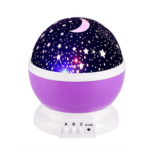 LED Rotating Star Projector Novelty Lighting Moon Sky Rotation Kids Baby Nursery Night Light Battery Operated Emergency usb Lamp