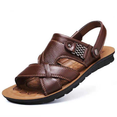 2019 summer beach shoes men's trend casual non-slip sandals 100% leather men's sandals shoe