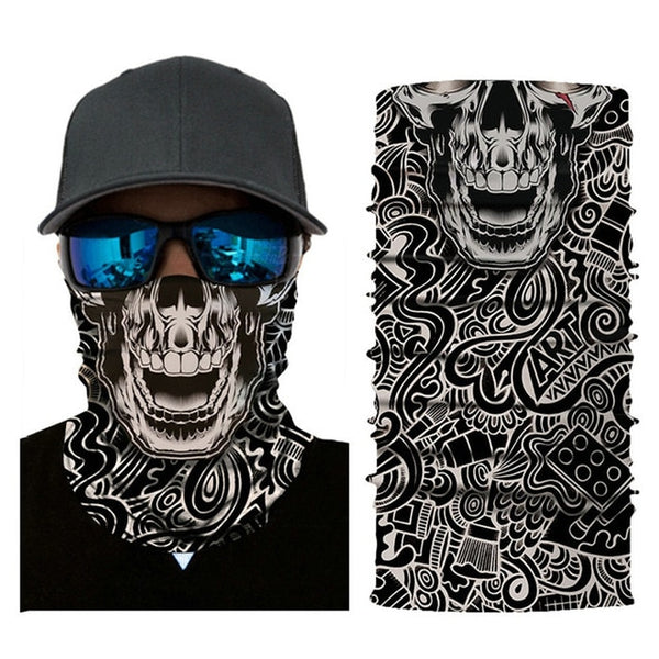 Cycling Motorcycle Head Scarf Neck Warmer Skull Face Mask Ski Balaclava Headband Mask Scary halloween Face Shield Outdoor