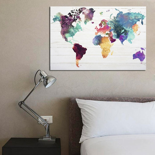 Colorful Wall Art World Map Canvas Paintings Abstract Oil Posters and Prints Nordic Decorative Pictures for Living Room