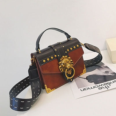 Luxury Famous Brand Shoulder Bags Female Lion Head Lock Handbag Women PU Leather Messenger Crossbody Bags Fashion Party Clutch