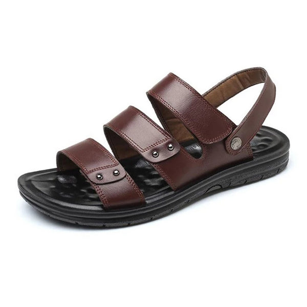 Tangnest Men's Summer Casual Gladiator Sandals Classic Slip-on Beach Sandals Male Platform Slippers Black Brown XML268