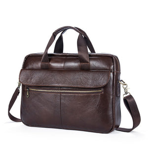 Genuine Leather Men Briefcase New Fashion Commercial Laptop Briefcase Cross-body Shoulder Bag N073