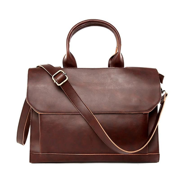 High Quality PU Leather Men Briefcase Bag OL Business Man Messenger Shoulder Bag Male Travel Totes Black/Brown Solid Color Bags
