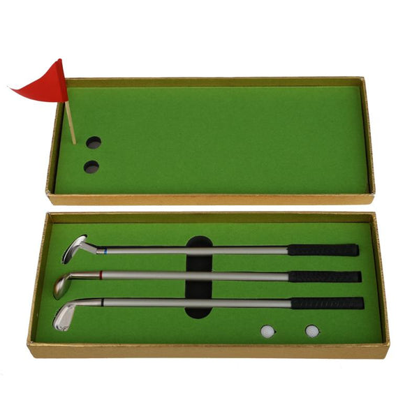 Hot! 3Pcs Mini Golf Clubs Iron Set Models Golf Pole Ball Pen + 2pcs Golf Balls + Red Flag Golf Set Kits 3 Colors
