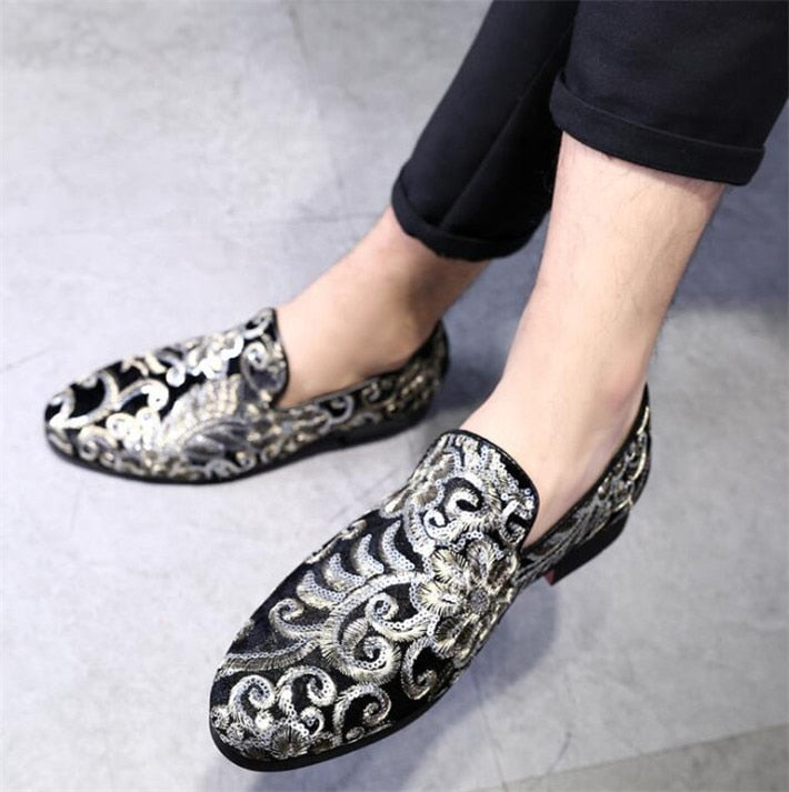 Tangnest Luxury Embroidery Oxfords Shoes Men Fashion Velvet Slip-on Wedding Party Shoes Man's Dress Flats Plus Size 48 XMP872