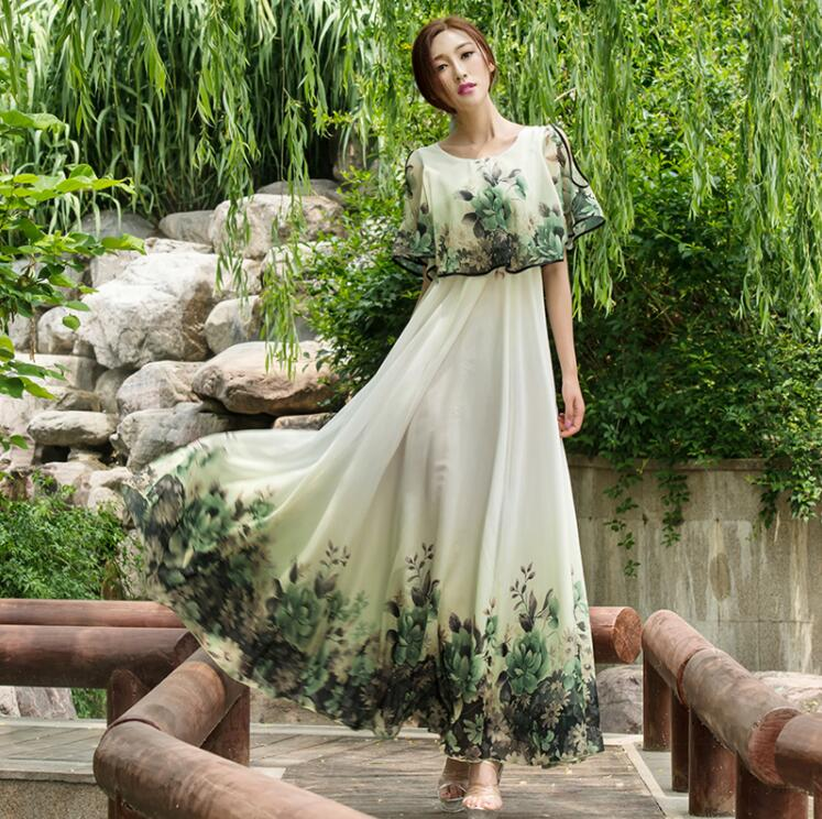New summer Lolita chiffon Slim Bohemia loose lady dress Beach maxi vintage casual boho Bohemian flower printed strapless dress