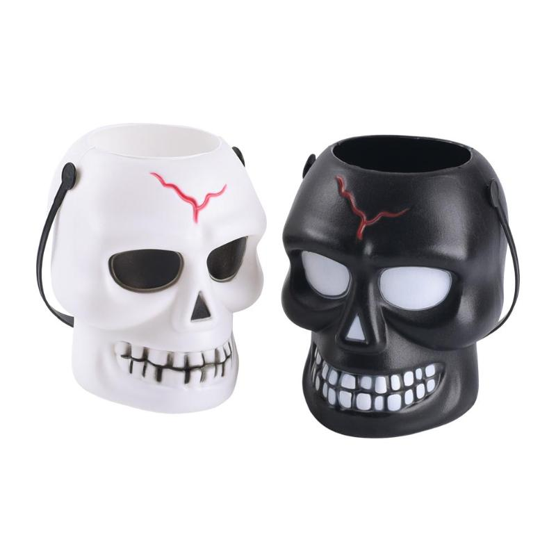 【Buy one get one free】3D Skull LED Lantern Night Light Lamp Storage Bucket Halloween Decoration for Home Bar Haunted House Party Supplies