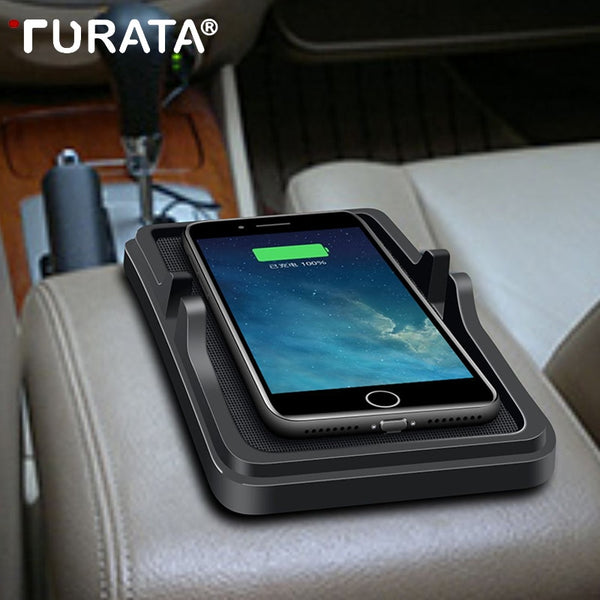 TURATA Qi Wireless Car Charger Pad for iPhone 8 10 X Plus Samsung S6 S7 S8 Edge Stand 5V/2A Charging Dock Mobile Phone Holder