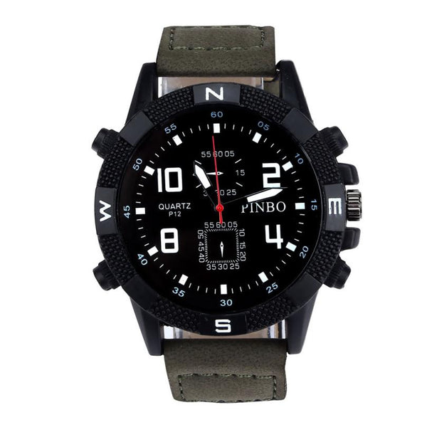 #5001 Leisure High Quality Man Watch Luxury Men's Canvas strap Large Dial Military Sport Quartz Wrist Watch