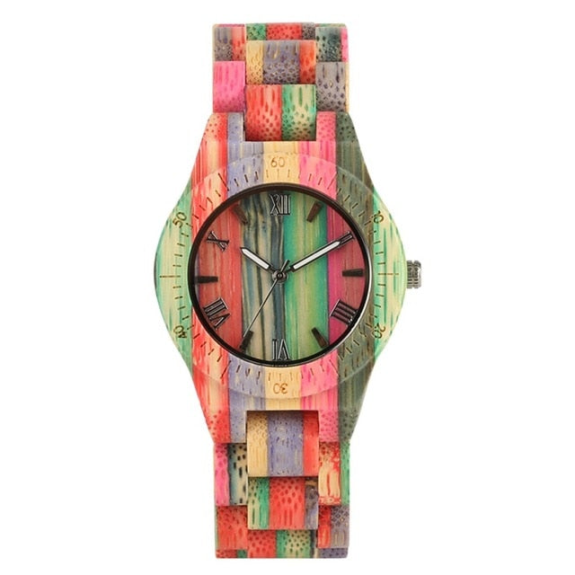 Unique Colorful Men Bamboo Watches Lovers Handmade Natural Wooden Bracelet Quartz Analog Luxury Wristwatches Ideal Gifts Items