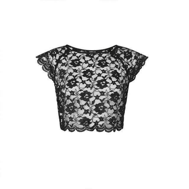 Women Perspective Vest Lace Navel Wave Lace French Elegant Temperament Thin 2018 Autumn New Sexy Crop Top