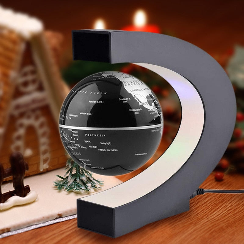 C Shape LED World Map Floating Globe Tellurion Magnetic Levitation Light  Antigravity magic/novel light Home Decor Miniatures
