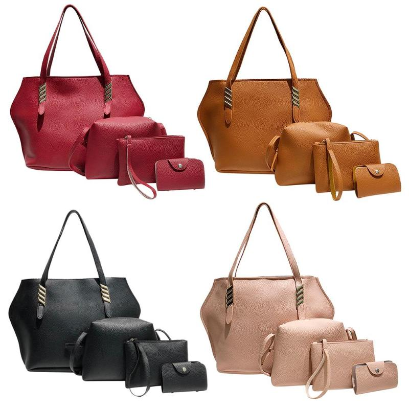 4Pcs Women's Bag New Women Bag Tide Fashion Litchi Pattern Four Sets Of Sub-Handbag Tassel Messenger Bag Shoulder Bag Wholesale