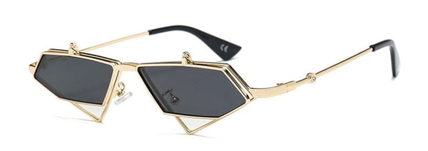 Peekaboo gold steampunk flip up sunglasses men vintage red metal frame triangle sun glasses for women 2019 uv400