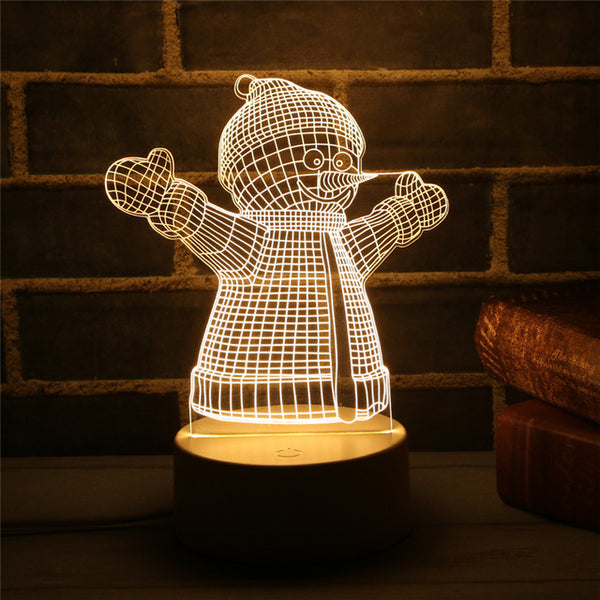 Navidad 3D LED Lamp Cute Christmas Tree Snowman LED Night Light Xmas Party Decoration Energy Saving Atmosphere Control Lamp