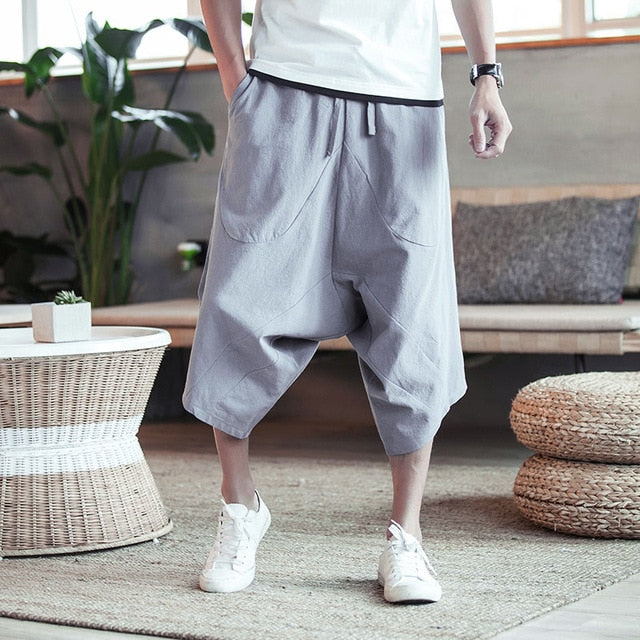 Men Pants Men's Wide Crotch Harem Pants Loose Large Cropped Trousers Wide-legged Bloomers Chinese Style Flaxen Baggy
