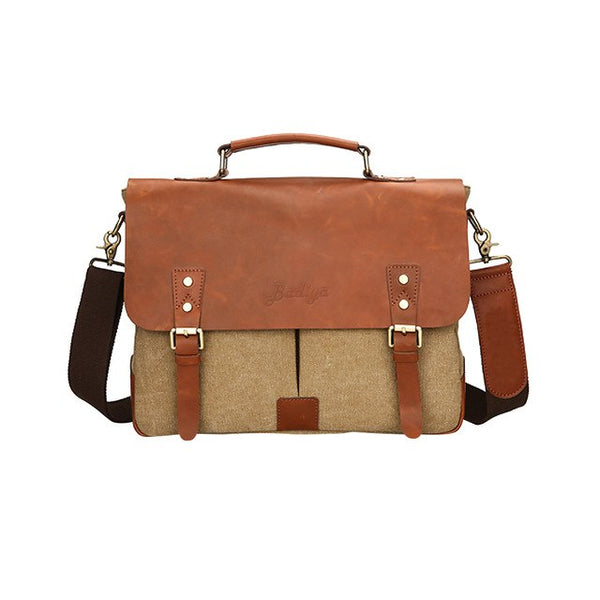 Men's Bussiness Genuine Leather Canvas Patchwork Briefcase Laptop Handbag With Usb Charger Portable Male Fashion Shoulder Bag