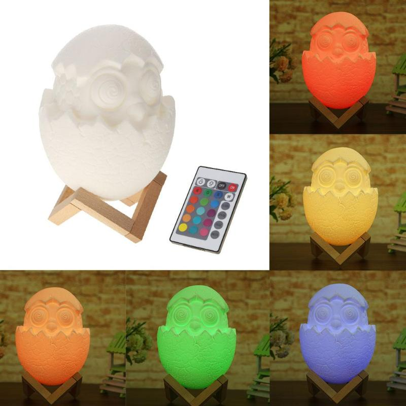 USB 3D Egg Shape Night Lights 16 Color Change LED Remote Control Night Light Lamp Christmas Party Decoration Lamp