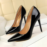 Patent Leather Thin Heels Office Women Shoes New Arrival Pumps Fashion High Heels Shoes Women's Pointed Toe Sexy Shoes Shallow