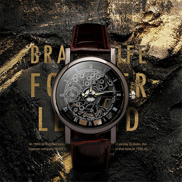 【Buy one get one free】Business Man Watch Luxury Hollow Men's Watch Leather Men Watch Imitate Mechanical Wristwatch Quartz Male Clock Relogio Masculino