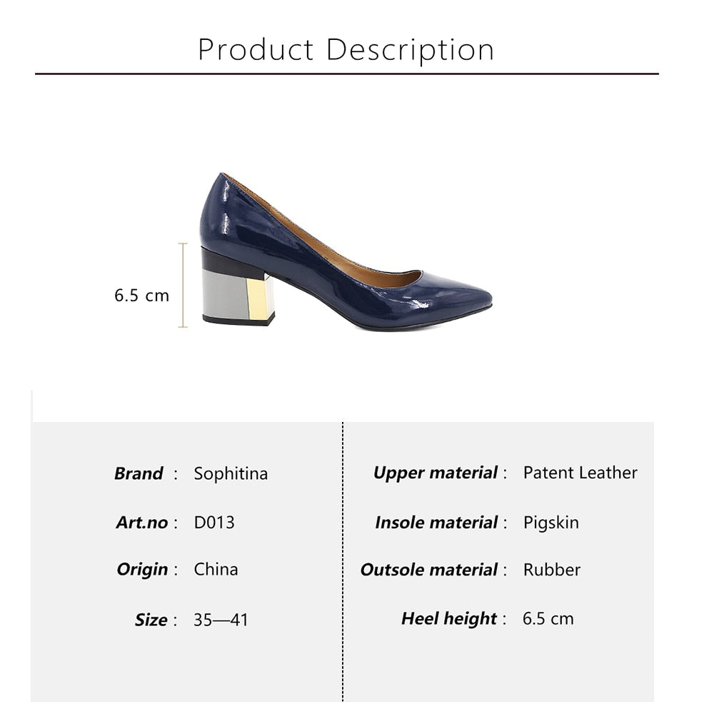 0c95dda86fd ... SOPHITINA Brand Shoes Thick Heel Ladies Pumps Patent Leather Pointed  Toe Colorful Square Heels Party Handmade