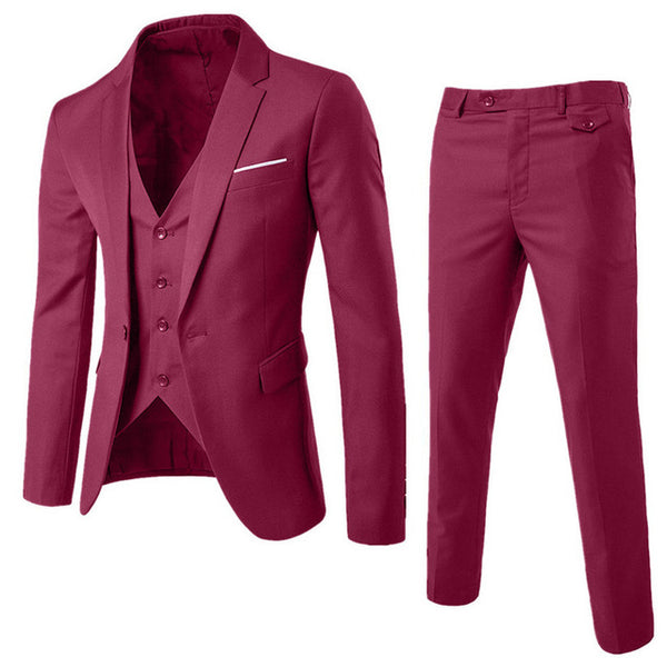 Newly Design 3-Pieces Men Blazer Suit Set Man Male Tuxedo Trouses Pants Men Slim Fit Formal Suits For Wedding Party 81101