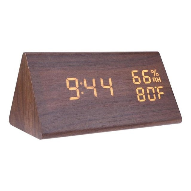 Wood LED Alarm Clocks Sound Control Digital Clock Thermometer Timer Calendar Display Electronic Table Clock Home Decor