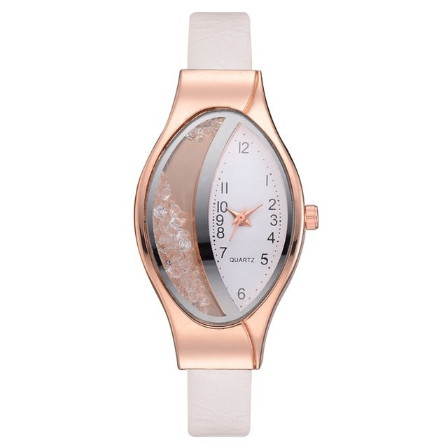 Flow Sand Ellipse Woman Fine Strap Small Dial Watch Luxury Brand Bracelet Wristwatch Ladies Dress Clocks