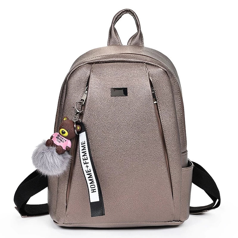 Fashion Gold Leather Backpack Women Black Vintage Large Bag For Female Teenage Girls School Bag Solid Backpacks mochila XA56H