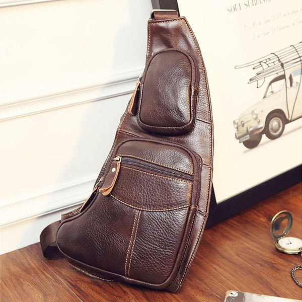 High Quality Men Genuine Leather Cowhide Vintage Sling Chest Back Day Pack Travel Fashion Cross Body Messenger Shoulder Bag