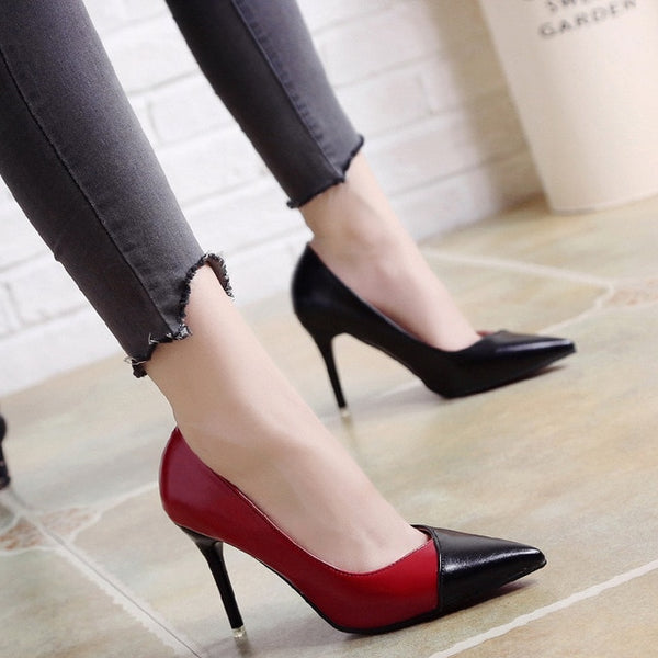 2019 Women Pumps OL Fashion Spell Color High heels Single Shoes Female Spring Summer Patent leather Wedding Party shoes Woman