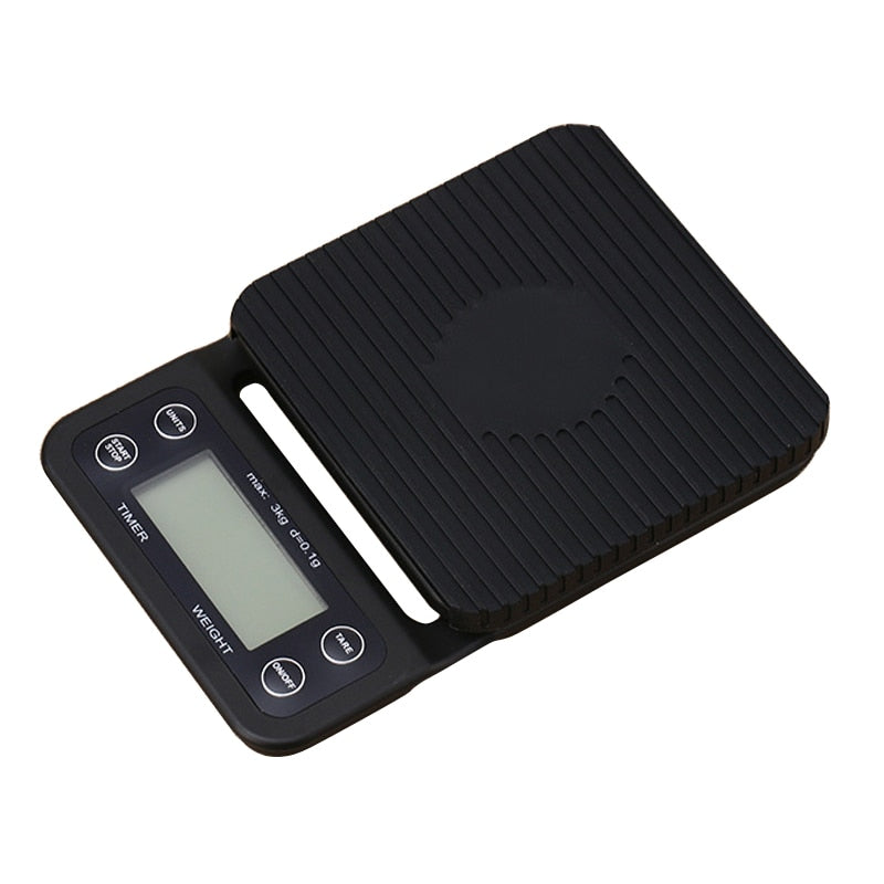 Portable Electronic Scale with Timer 3kg/0.1g LCD Digital Kitchen Coffee Scales Weighing tool libra Precision Jewelry Scale