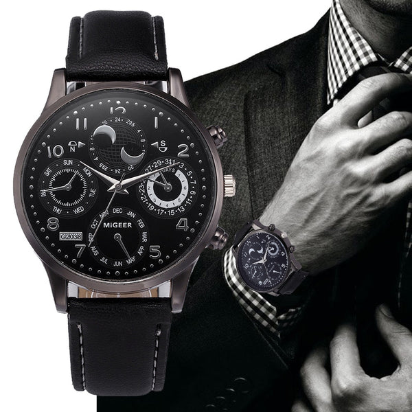 【Buy one get four】Business Men Leather Band Crystal Watches Bracelet Analog Alloy Quartz Wrist Watch Relogios Masculino Clock Hot #5/22