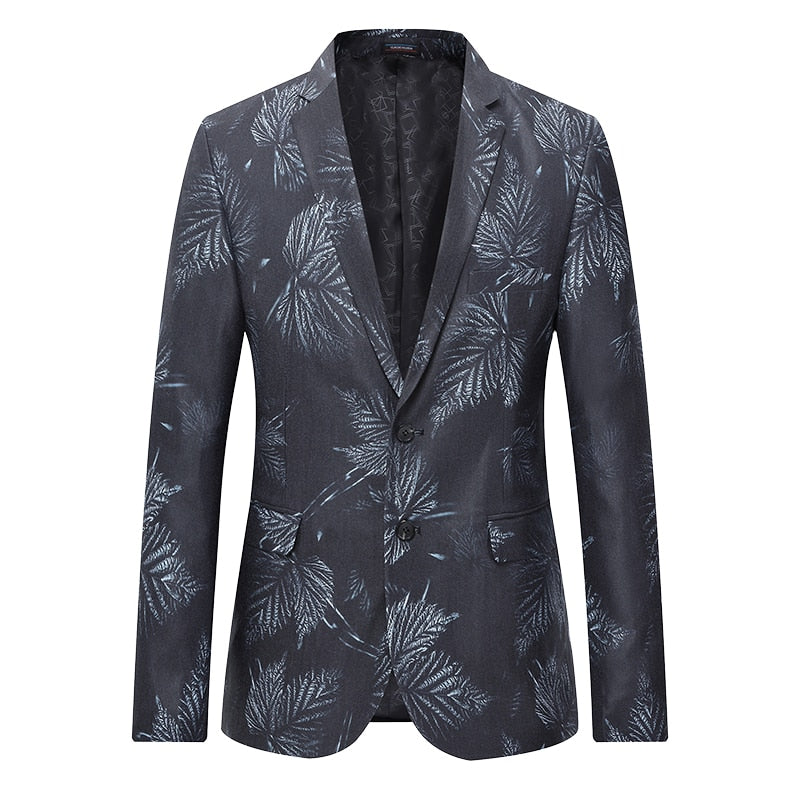 New Fashion 2019 Autumn Men's Casual Blazer Leaf Print Blazers Mens Clothes Trend Slim Fit Dress Suit Work Blazer Jacket Men 6XL