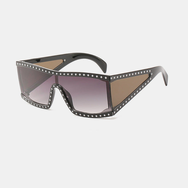 ROYAL GIRL Luxury Square Sunglasses Women Oversize Shield Sun Glass Female Vintage Flat Top Rhinestones Unisex Oculos SS878