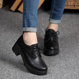 Spring\winter British style split leather women square heel flat Platform shoes woman  lace-up oxford shoes for women