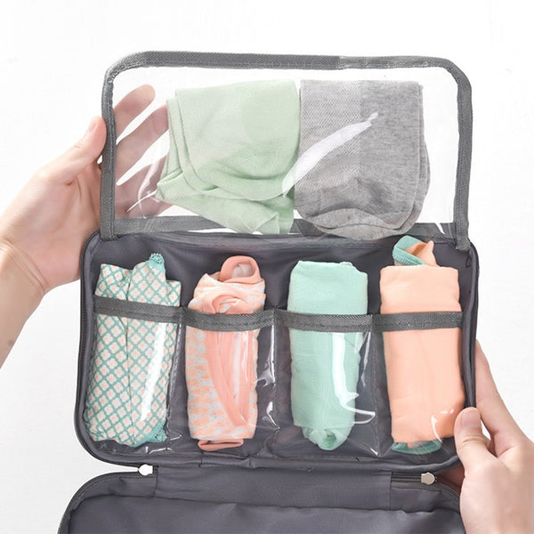 Women Underwear Bags Portable Travel Compartment Wash Cosmetic Clothes Organizer Fashion Bra Storage Cases Accessories