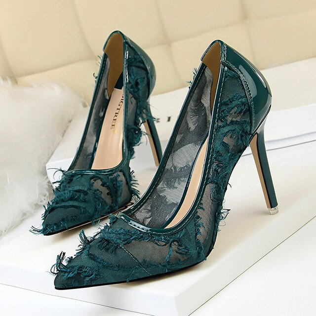 Bigtree Shoes Sexy Hollow Women Pumps Fashion Furry High Heels Women Shoes Wedding Shoes Women Party Shoes Black Stiletto