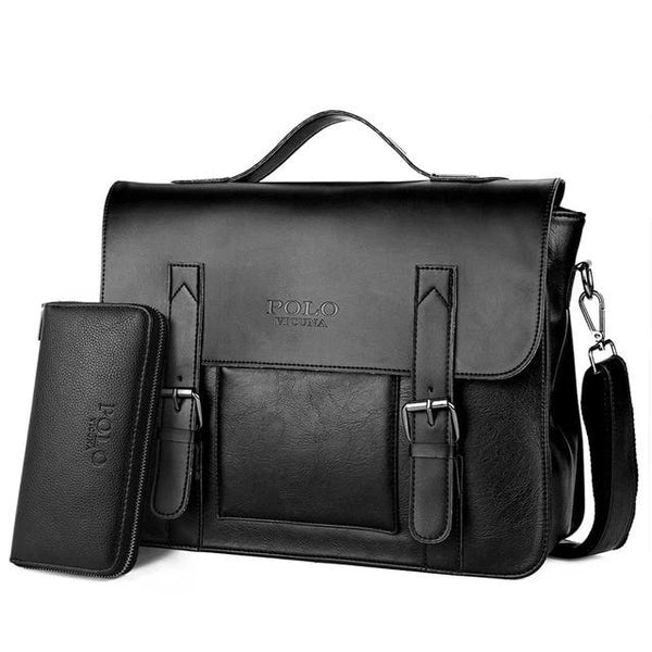 VICUNA POLO Business Men Bag Double Belt Decor Brand OL Leather Men Briefcase Bag lawyer Doucument Bag maletines para hombres