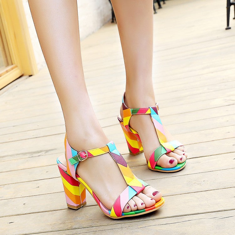 Size 34-44 Summer Patent Leather Women Sandals Fashion Square High Heels Ladies Pumps Sexy Party Dress Shoes Woman Sandals