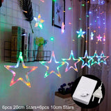 FENGRISE 12 Stars LED Window Curtain String Light  DIY Wedding Decoration Outdoor Garland Birthday Party Festival Holiday Decor