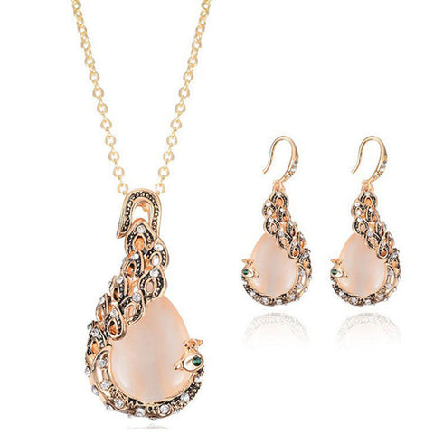 1 Set Fashion Crystal Drop Necklace Earrings Jewelry Set Wedding Party Jewelry Set